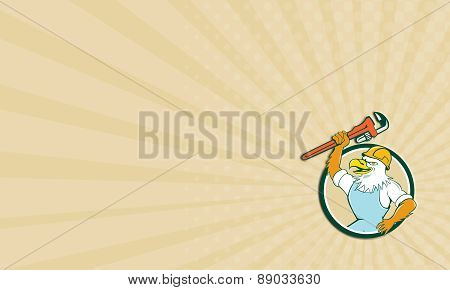 Business Card Bald Eagle Plumber Wrench Circle Cartoon
