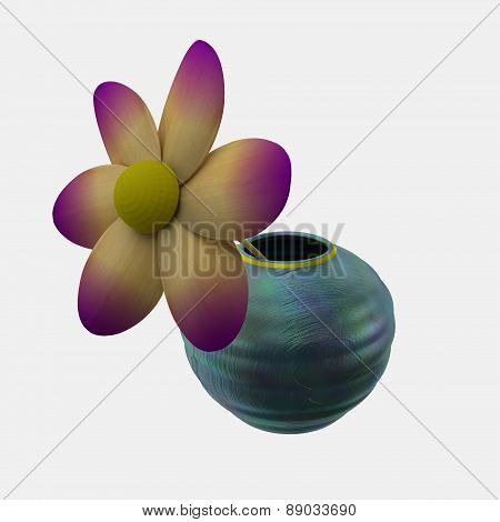 Wooden flower in pot