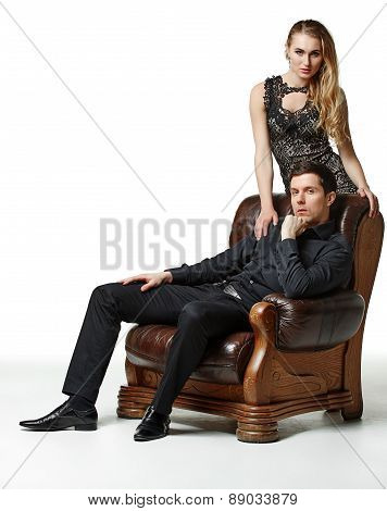 man and woman over white background