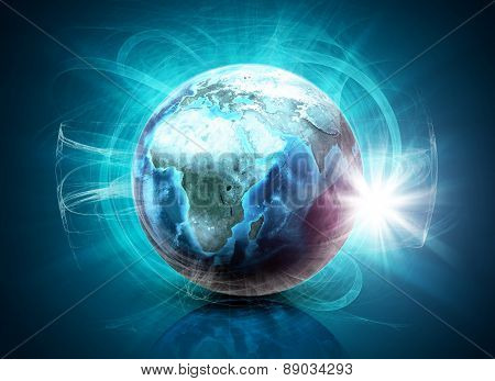Earth in haze on abstract blue background