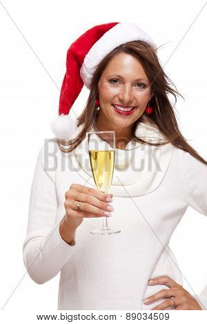 Playful Woman Celebrating Xmas Blowing A Kiss