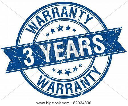 3 Years Warranty Grunge Retro Blue Isolated Ribbon Stamp