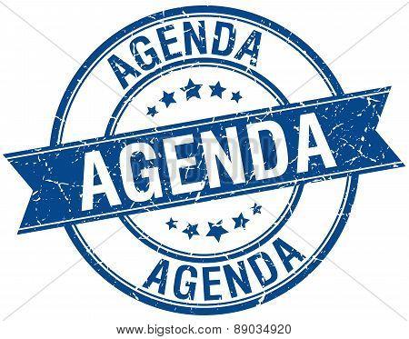 Agenda Grunge Retro Blue Isolated Ribbon Stamp