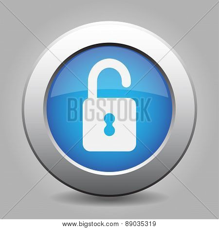 Blue Metal Button With Open Padlock
