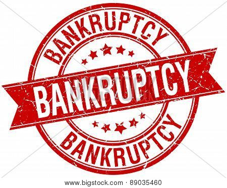 Bankruptcy Grunge Retro Red Isolated Ribbon Stamp