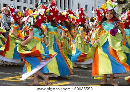 FUNCHAL MADEIRA - APRIL 20 2015: Children dancing in the Madeira Flower Festival Funchal Portugal
