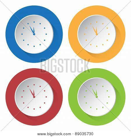 Set Of Four Icons - With Clock