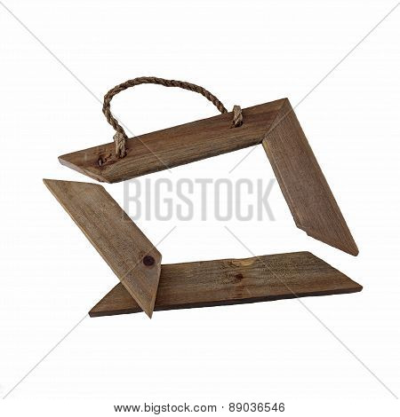 Broken Wooden Picture Frame Isolated On White Background.