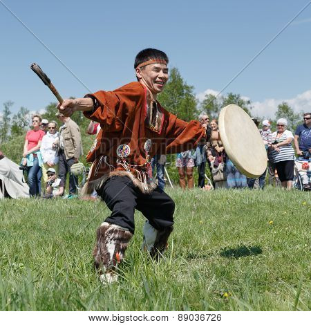 Man In Clothes Indigenous People Of Kamchatka Dancing With A Tambourine