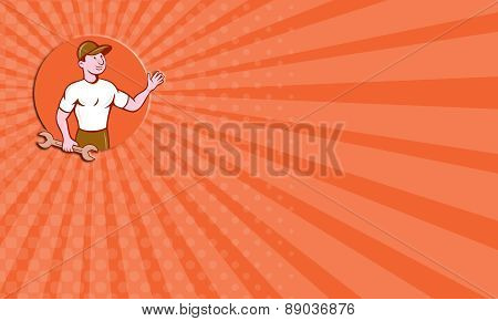 Business Card Mechanic Waving Circle Cartoon