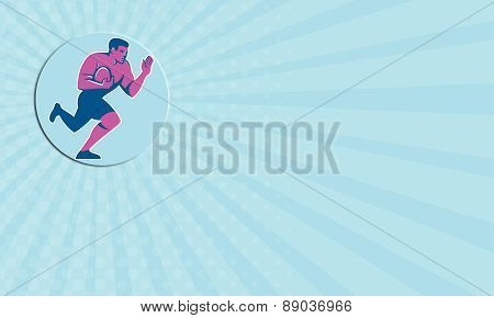 Business Card Rugby Player Fend Off Circle Retro