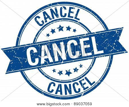 Cancel Grunge Retro Blue Isolated Ribbon Stamp