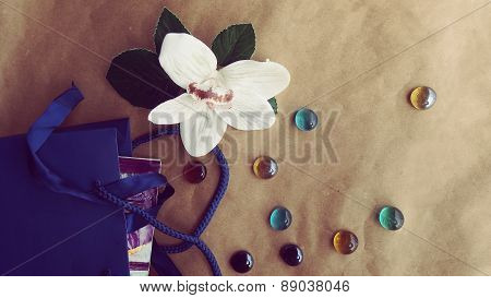 Gift Package with Flower and Glass