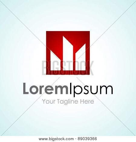 Red production pro cityscape element icons business logo