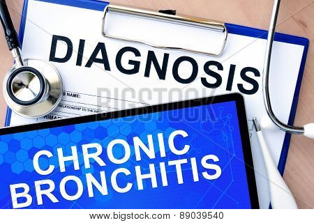 Form with diagnosis and tablet with chronic bronchitis
