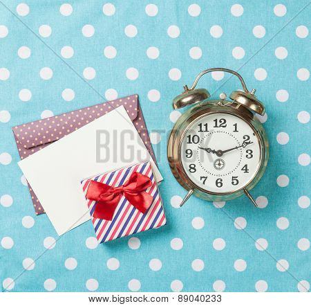 Alarm Clock And Gift Box With Envelope