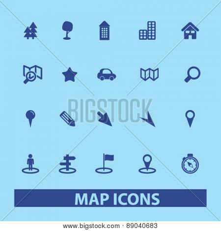 map, route, navigation icons, signs, illustrations set, vector