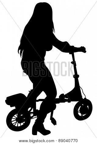 Sport women whit electric bike on white background