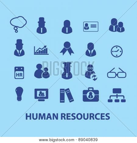 human resources, management icons, signs, illustrations set, vector