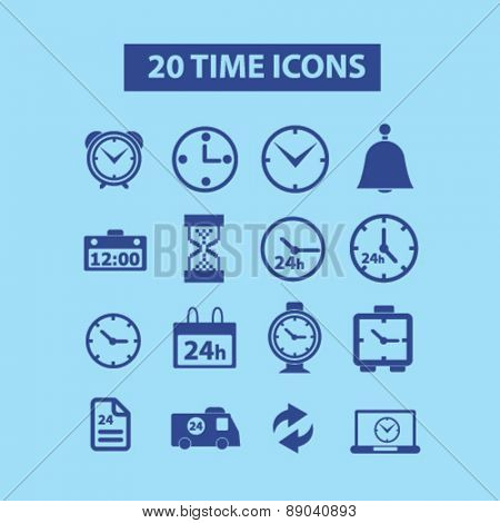 20 time, clock, hour, 24h icons, signs, illustrations set, vector