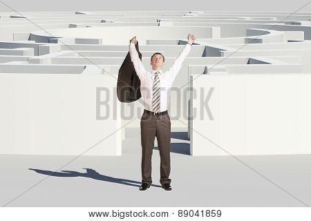 Winner businessman with hands up