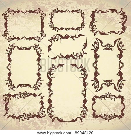 Set of 9 decorative, vintage frames on aged background. Vector illustration for your design.