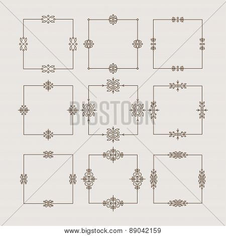 Set of 9 thin, square, decorative frames in monoline style. Vector illustration for your design.