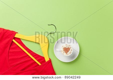 Cappuccino And Yellow Hanger With Red Dress