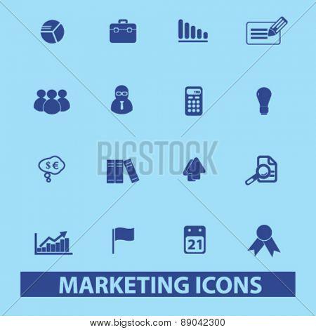 marketing, management, presentation icons, signs, illustrations set, vector