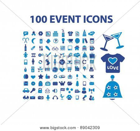 100 event, celebration, holidays, party icons, signs, illustrations set, vector