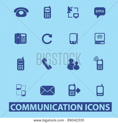 communication, connection, technology, phone, mobile icons, signs, illustrations set, vector