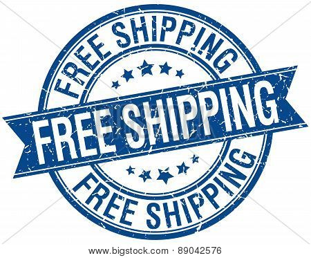 Free Shipping Grunge Retro Blue Isolated Ribbon Stamp