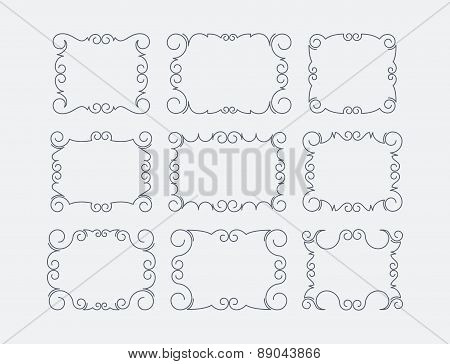 Set of 9 decorative, calligraphic, text frames. Vector illustration for your design.