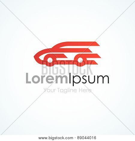Red simple elegant speeding car lines graphic design logo icon