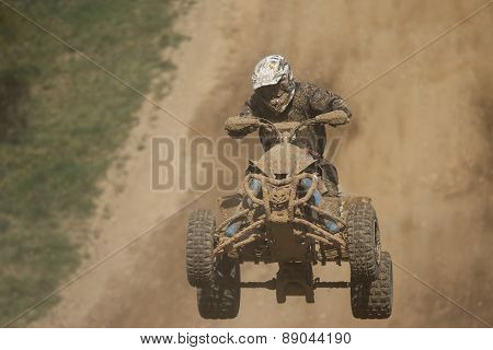 Front View Of Quad Racer Jumping