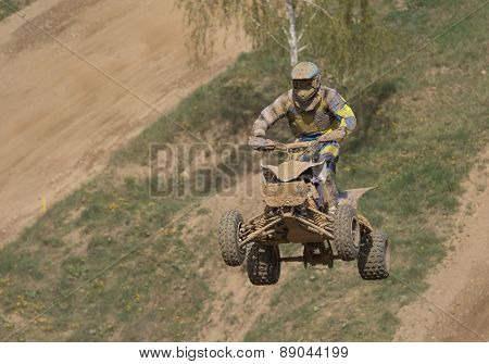 Quad Racer Is High Jumping. Horizontally.