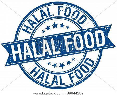 Halal Food Grunge Retro Blue Isolated Ribbon Stamp