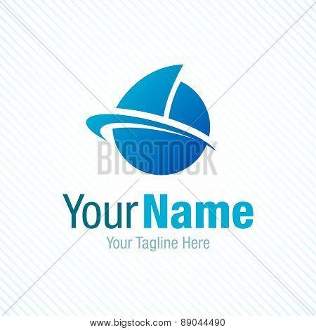 Sail the world blue boat symbol graphic design logo icon