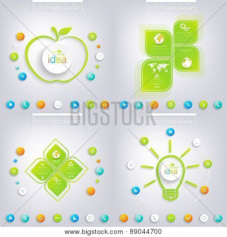 Modern green infographic design with place for your text. Business concept with 3, 4 options. Can be