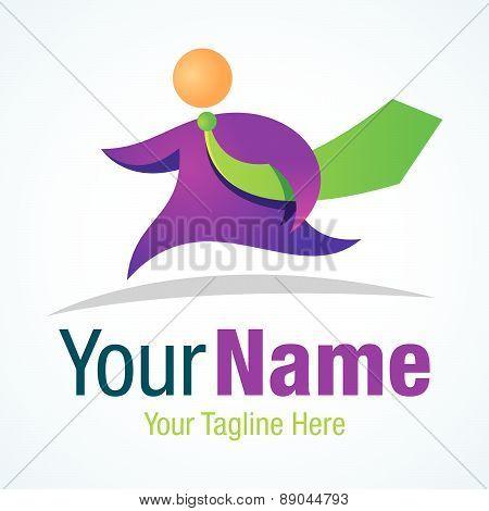 Running businessman green tie model graphic design logo icon