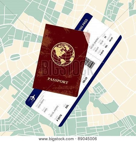 Passport with a boarding pass