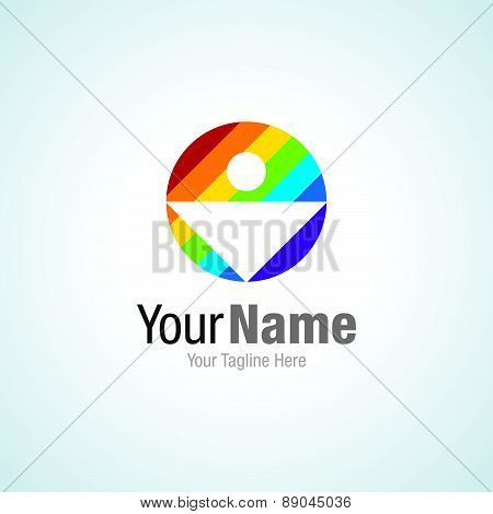 Human in colorful color spectrum graphic design logo icon