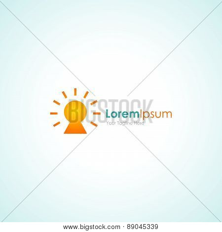 Key hole shinning gold simple safe business icon logo