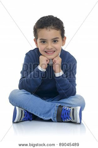 Cute Happy Boy Sitting