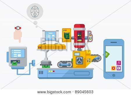 Mobile App Development Production Plant Flat Concept Illustration