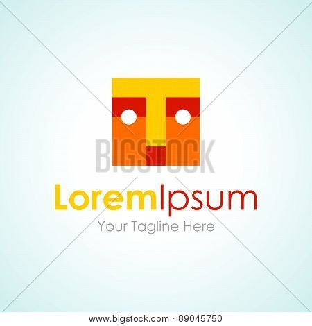 Yellow block face puzzle man simple business icon logo