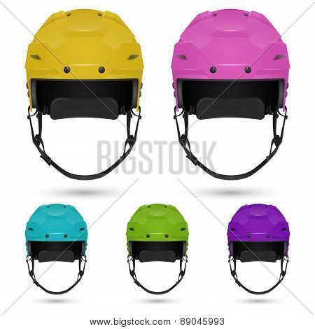 Ice hockey helmets set, isolated on white background.