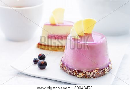 Cake With A Creamy Mousse And Stuffed Berry Mousse