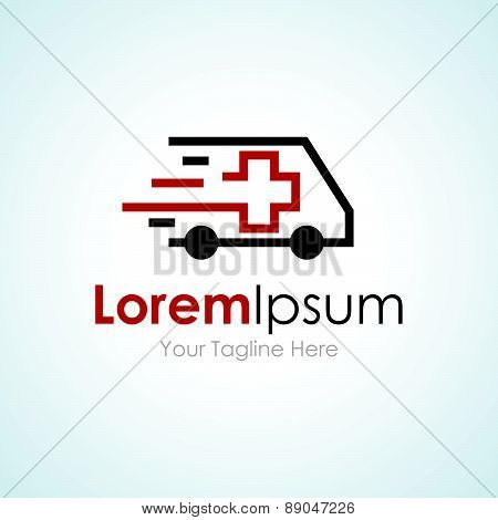Ambulance van vehicle speeding simple business icon logo