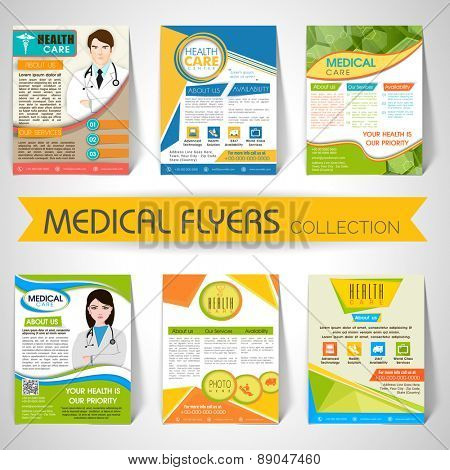 Collection of stylish Flyers, Templates or Banners for Medical and Health Care concept.
